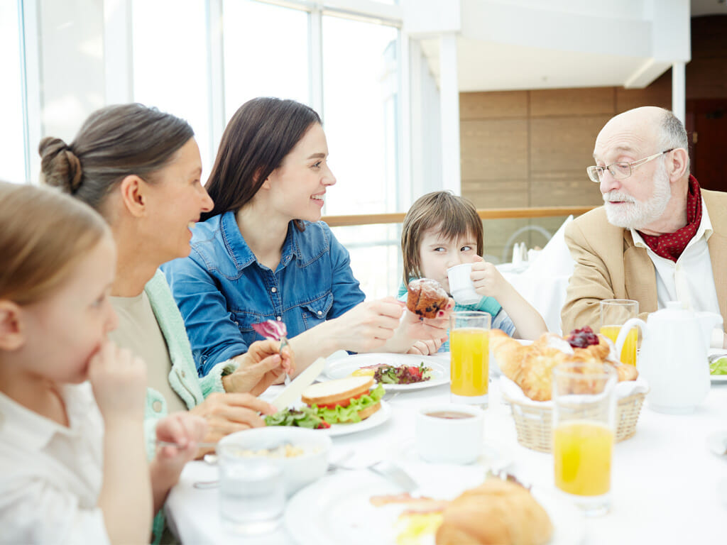 Intergenerational family at table